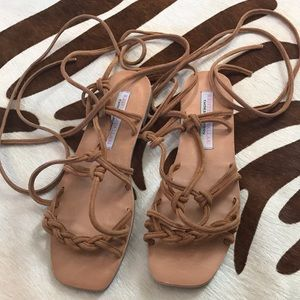 Cute lace up suede sandals